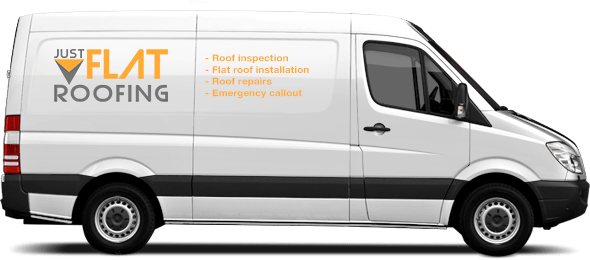 The Just Flat Roofing van team