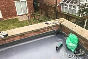 domestic flat roof in process