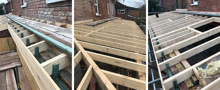 flat roof construction timber frame in Merseyside